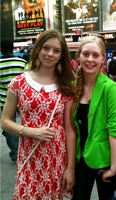 Waterville Junior High classmates Julia Bluhm (left) and Izzy Labbe traveled to New York City to protest Seventeen magazine's use of Photoshop to adjust models' appearances. They returned for a national SPARK (Sexualization Protest: Action, Resistance, Knowledge) meeting in August.