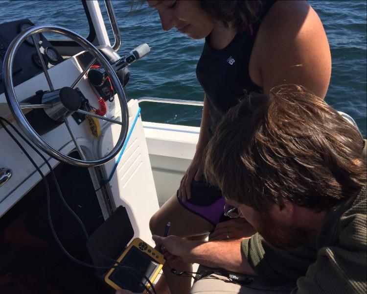 boat-based acoustic imaging underway in Salem Sound