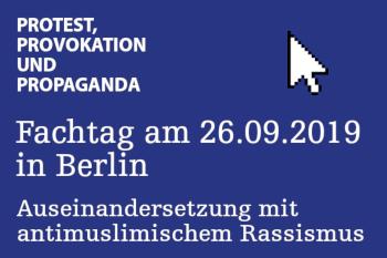 Textkachel: ufuq.de-Fachtag in Berlin zur Auseinandersetzung mit antimuslimischem Rassismus am 26. September 2019
