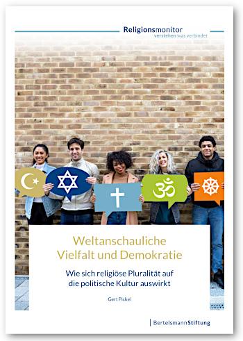 """Cover der Bertelsmann-Studie Religionsmonitor 2019 """"Weltanschauliche Vielfalt und Demokratie – Wie sich religiöse Pluralität auf die politische Kultur auswirkt"""""""