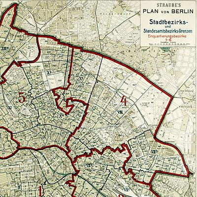 Symbolbild historische Karte von Berlin; Bild: Landesarchiv Berlin/Geographisches Institut und Landkartenverlag Julius Straube 1914