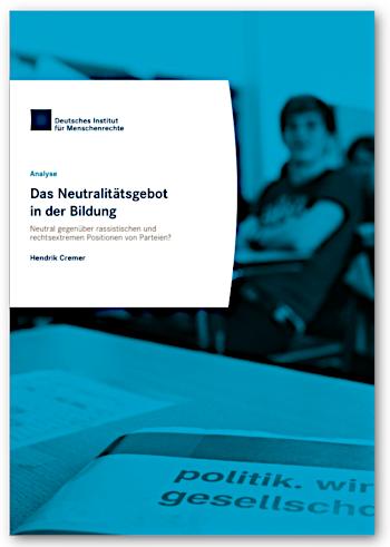 """Cover Deutsches Institut für Menschenrechte 2019 """"Das Neutralitätsgebot in der Bildung"""""""