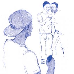 Zeichnung Jugendliche mit Mobiltelefonen