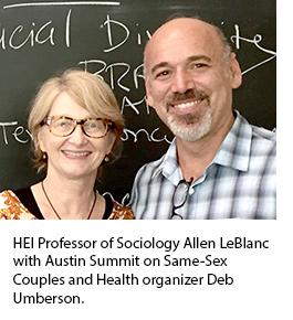 HEI Professor of Sociology Allen LeBlanc with Austin Summit on Same-Sex Couples and Health organizer Deb Umberson.