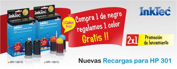 Por cada recarga para cartucho HP301 Negro te regalamos la de color. Así de facil