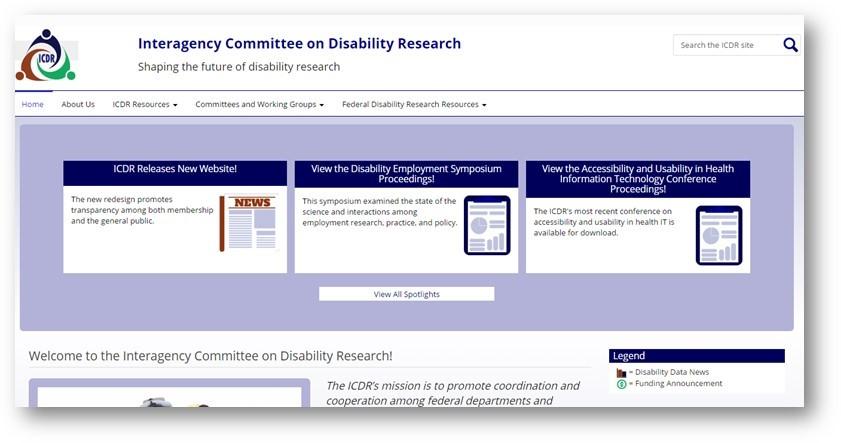 Screenshot of ICDR website redesign
