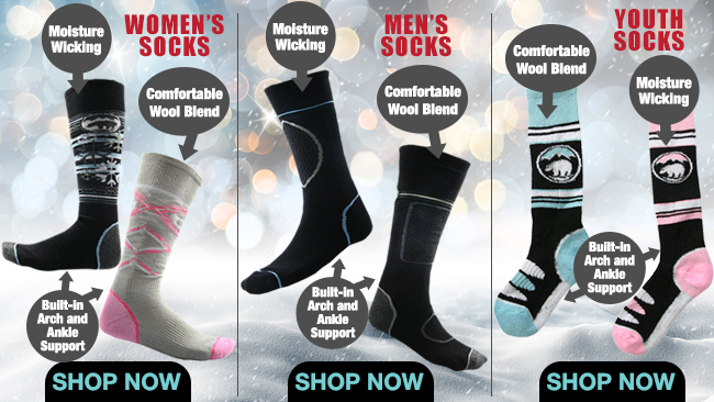 Women's, Men's and Youth Ski and Snowboard Socks