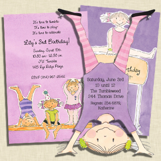 Gymnastics Party Invitations