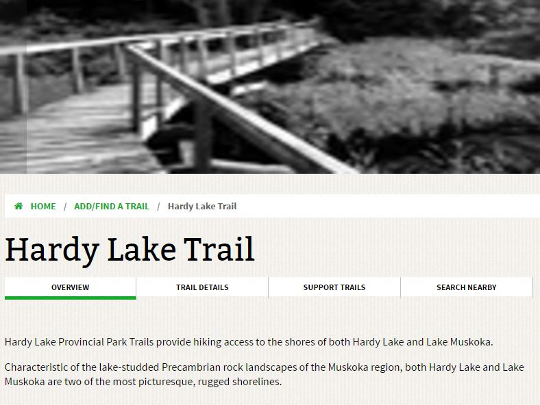 hardy lake trail township of muskoka lakes