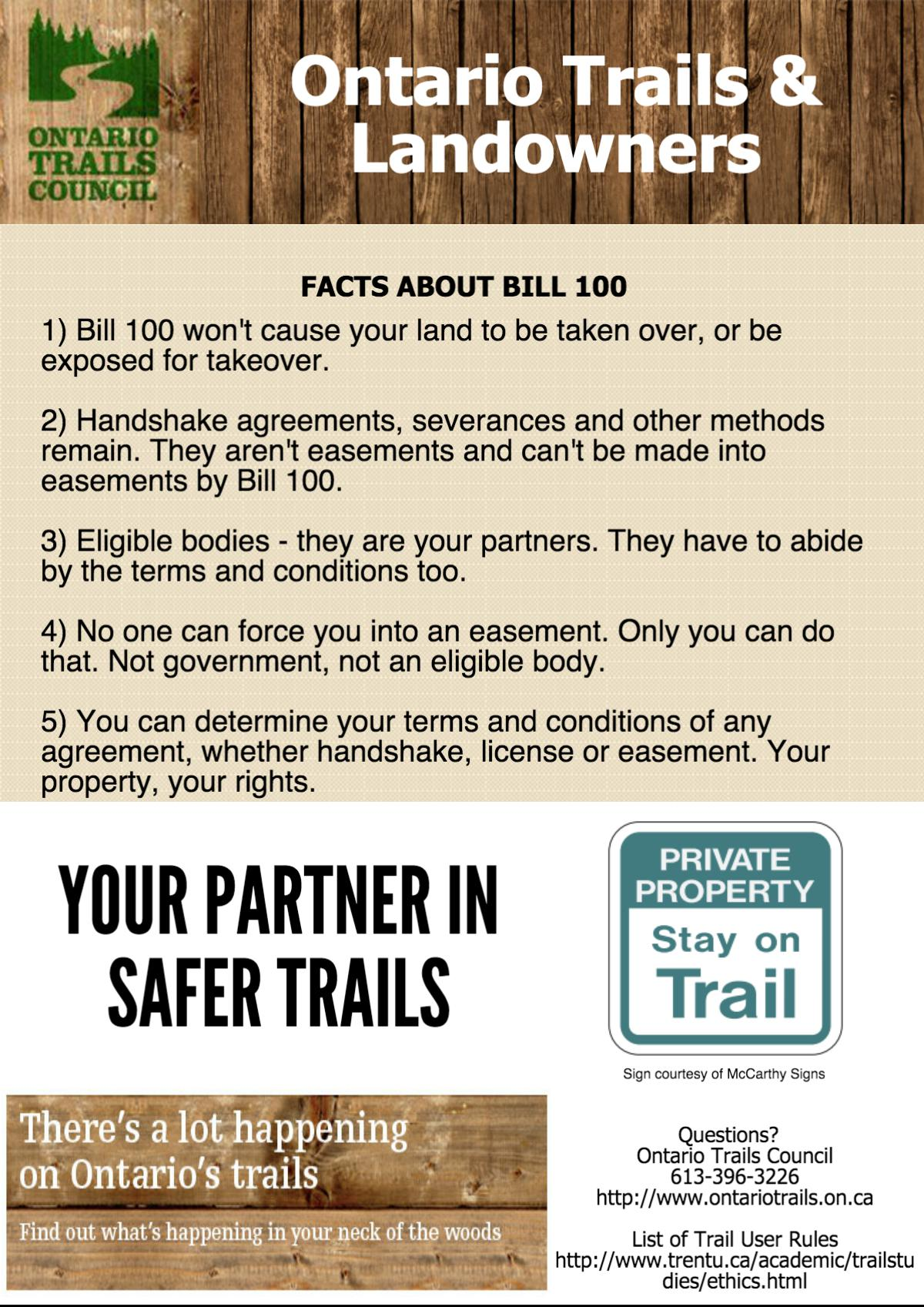 ontario trails and landowners poster