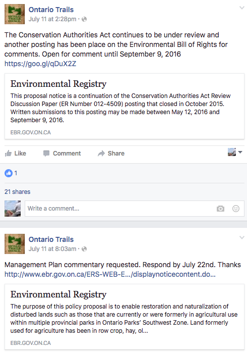 commentary wanted on government environmental registry