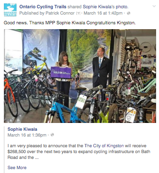 kingston announces cycling infrastructure