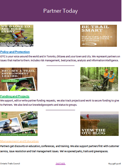 ontario trails partnership benefits flyer