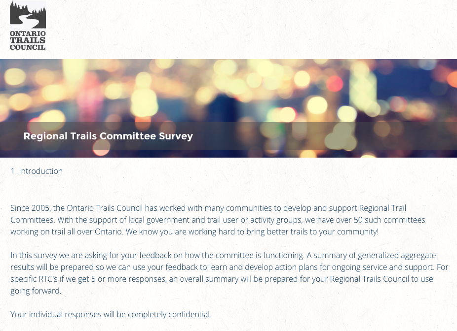 regional trail committees survey