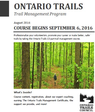 algonquin college trail ontario trails managment certificate