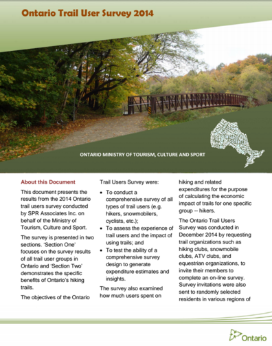 ontario trails user survey 2014
