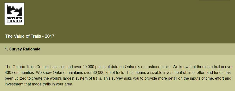 value of trail survey 2017