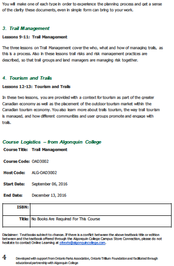 algonquin college trails management certificate