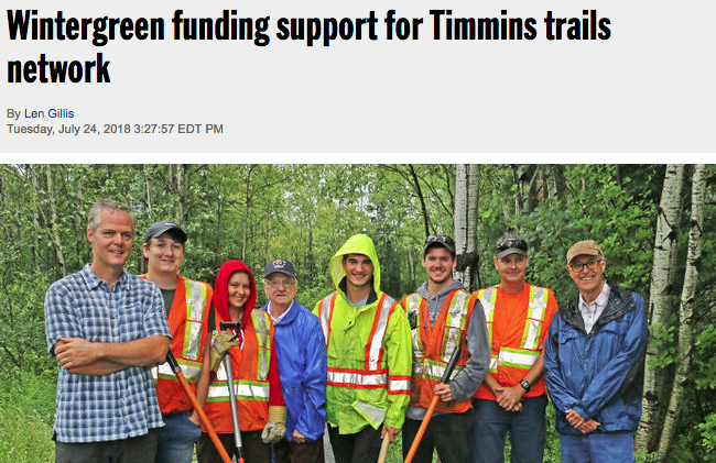wintergreen funding for timmins trails