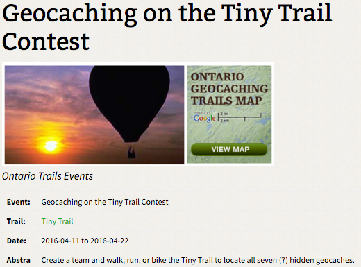geocaching on the tiny trail contest
