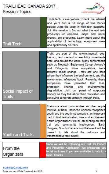 trailhead canada 2017 topics