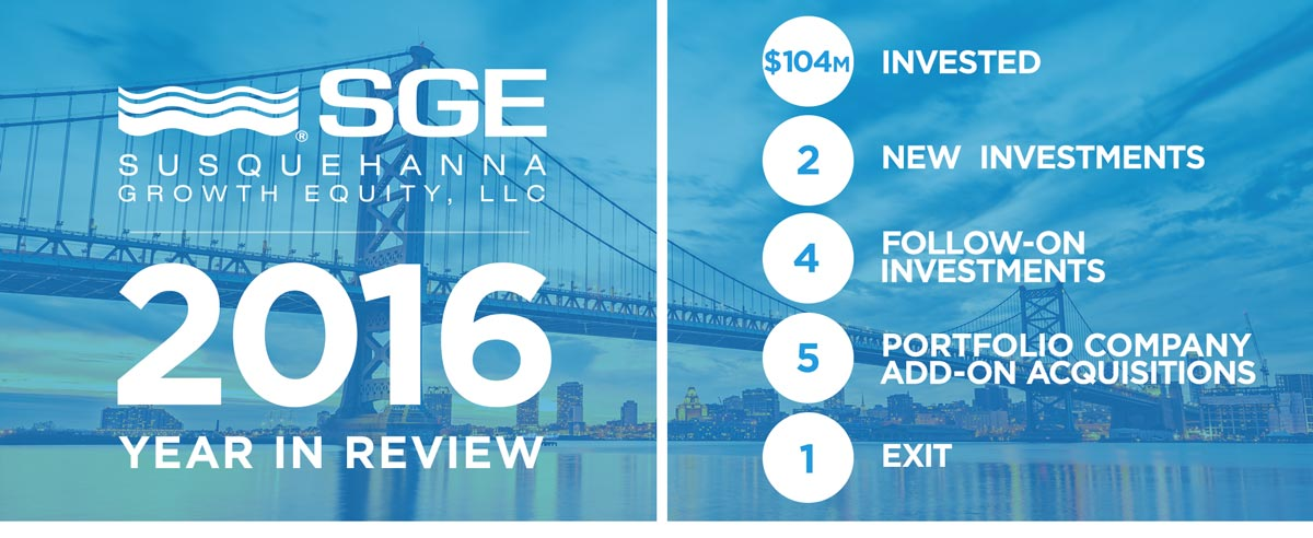 Happy New Year from everyone at Susquehanna Growth Equity. Our year in review: $104 million invested. 2 new investments. 4 follow-on investments. 5 portfolio company add-on acquisitions. 1 exit.