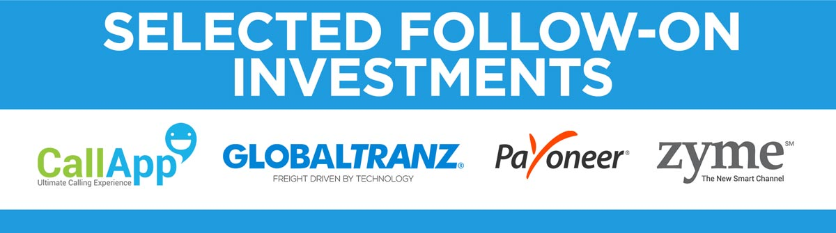 Selected follow-on investments include CallApp, Globaltranz, Payoneer, and Zyme.