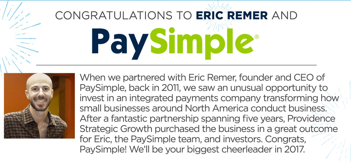 Congratulations to Eric Remer and PaySimple!
