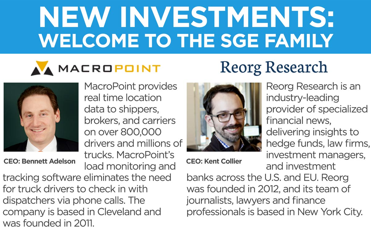 New investments: Welcome to the SGE Family Macropoint and Reorg Research.