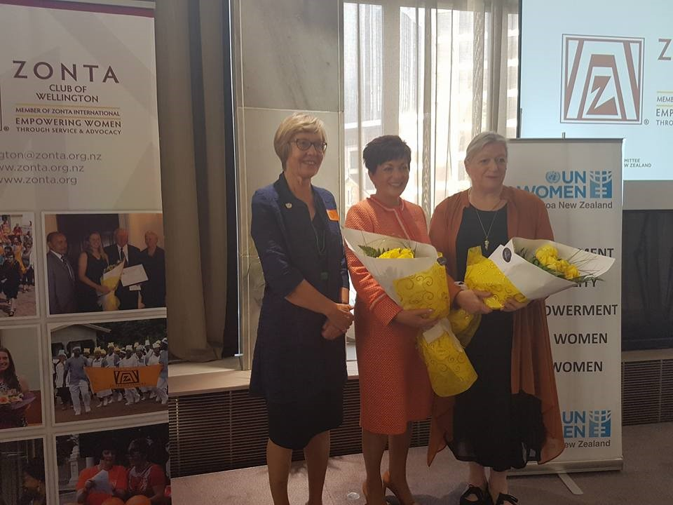 Barbara Williams President of UNWNCANZ, Her Excellency the Governor-General Dame Patsy Reddy, Sandra Coney