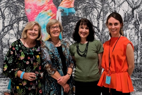 Joy Dunsheath President of UN Association, President UN Women NCANZ Barbara Williams, Elizabeth Caldwell Director of City Gallery and Rebecca Wilson from City Gallery