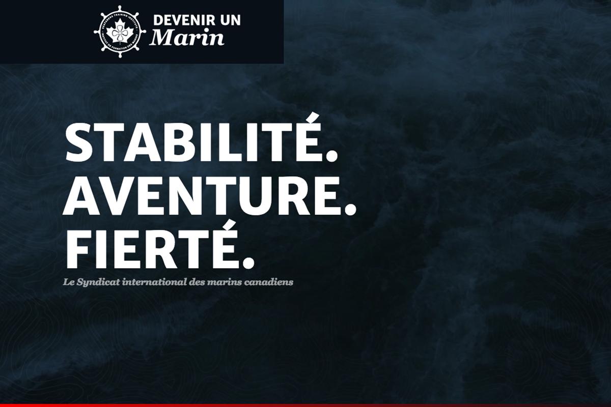 """Capture d'ecran du site """"Devenir un Marin"""""""