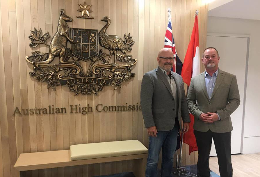 President Given and Executive Vice President Patrice Caron at the Australian Embassy