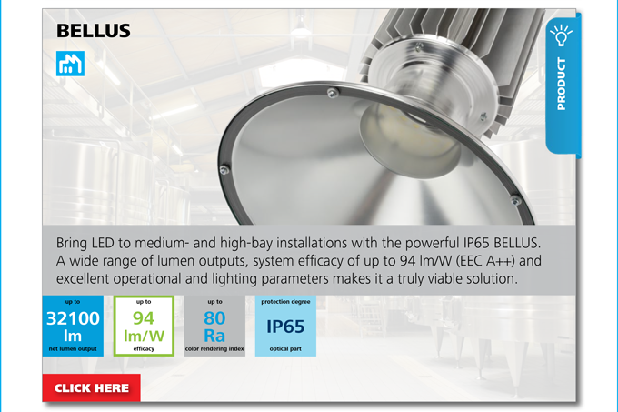 PRODUCT - Bring LED to medium- and high-bay installations with the powerful IP65 BELLUS
