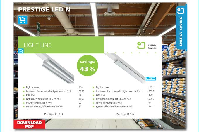 ENERGY SAVING - PRESTIGE LED N. Savings 43 %