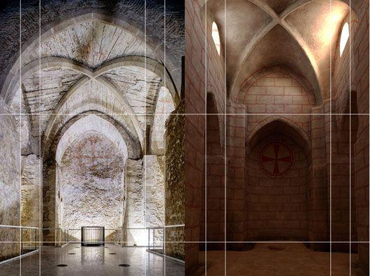 Rekonstruktion des unterirdischen Raumes vor Einbau des Gewölbes, Mitte 13. Jh.