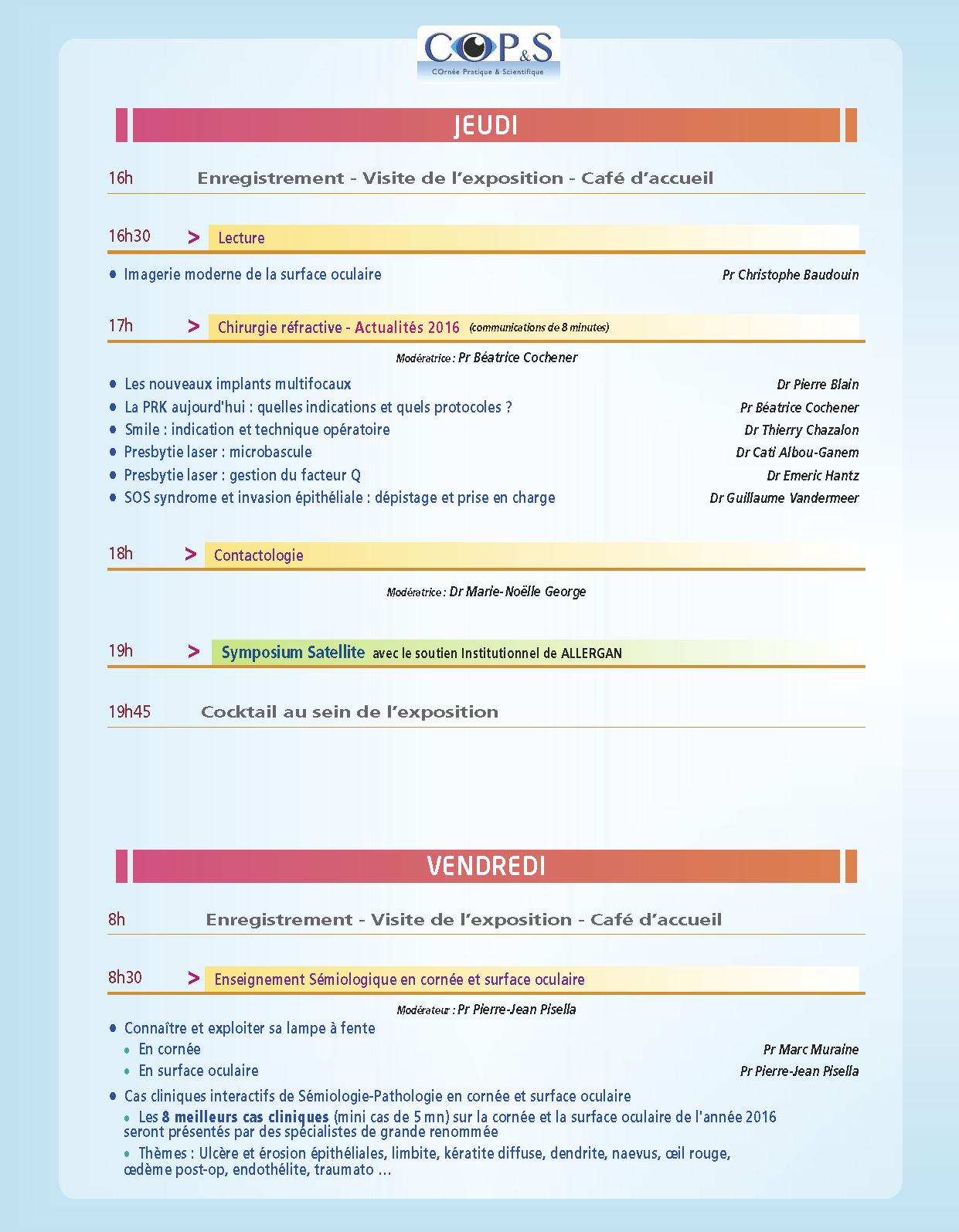 Programme COP'S 2015 part1