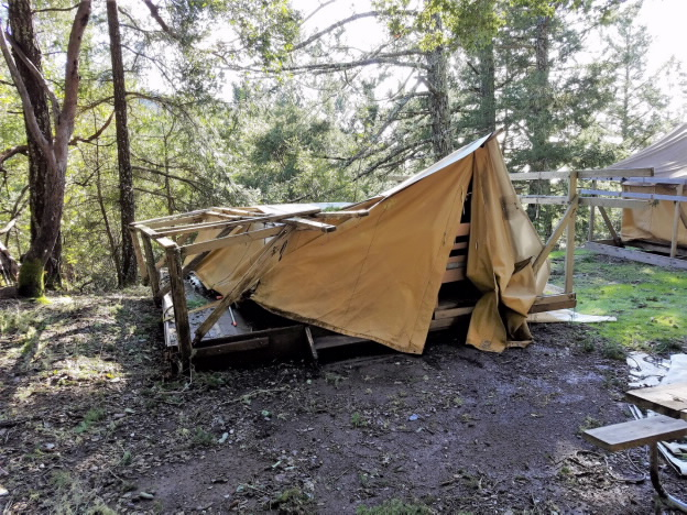Broken platform tent at camp