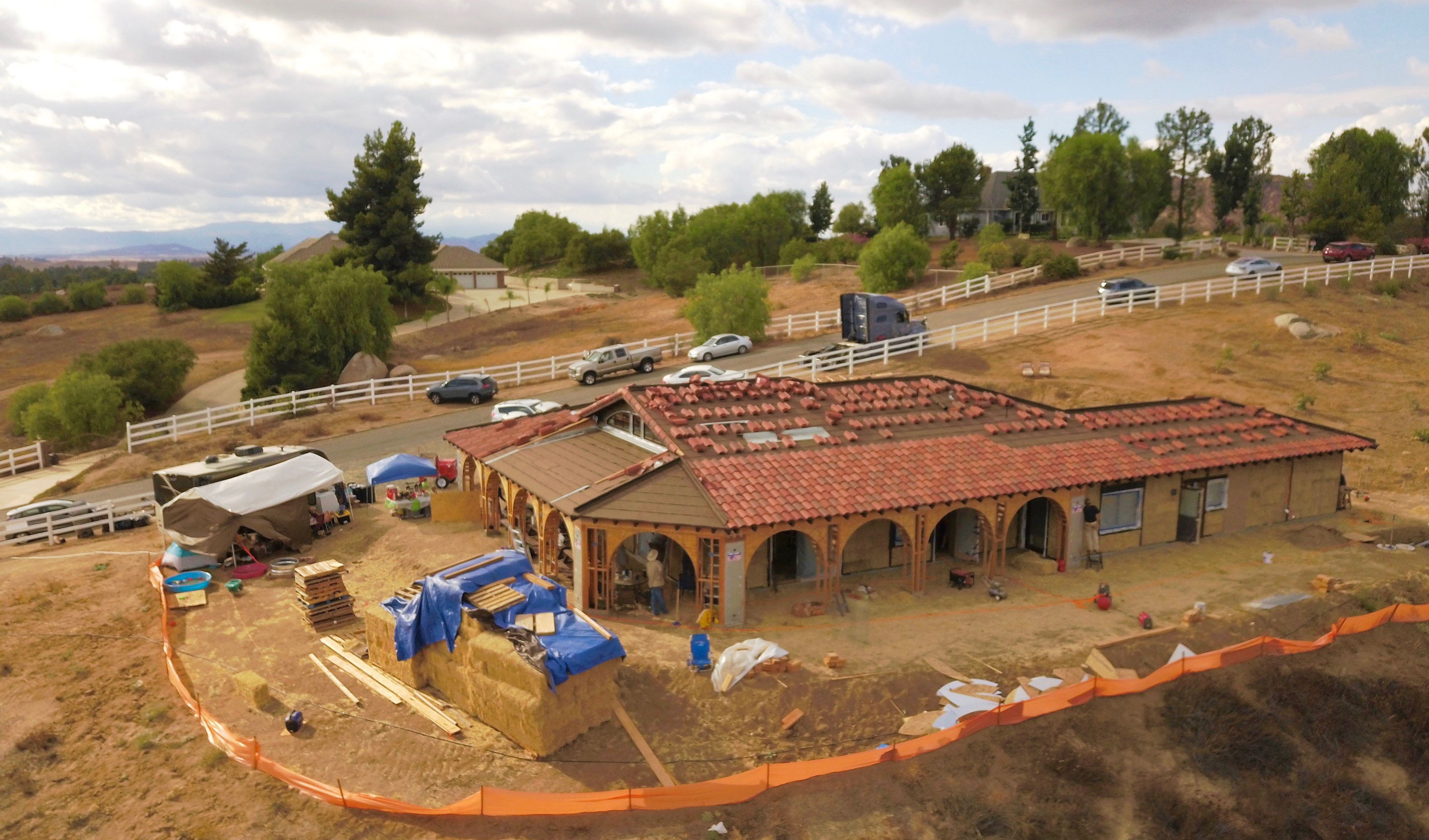 Overhead view of straw bale house