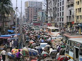 Dhaka in rush hour. (Wikimedia Commons)