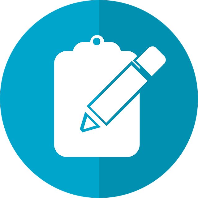 Icon showing clipboard and pen