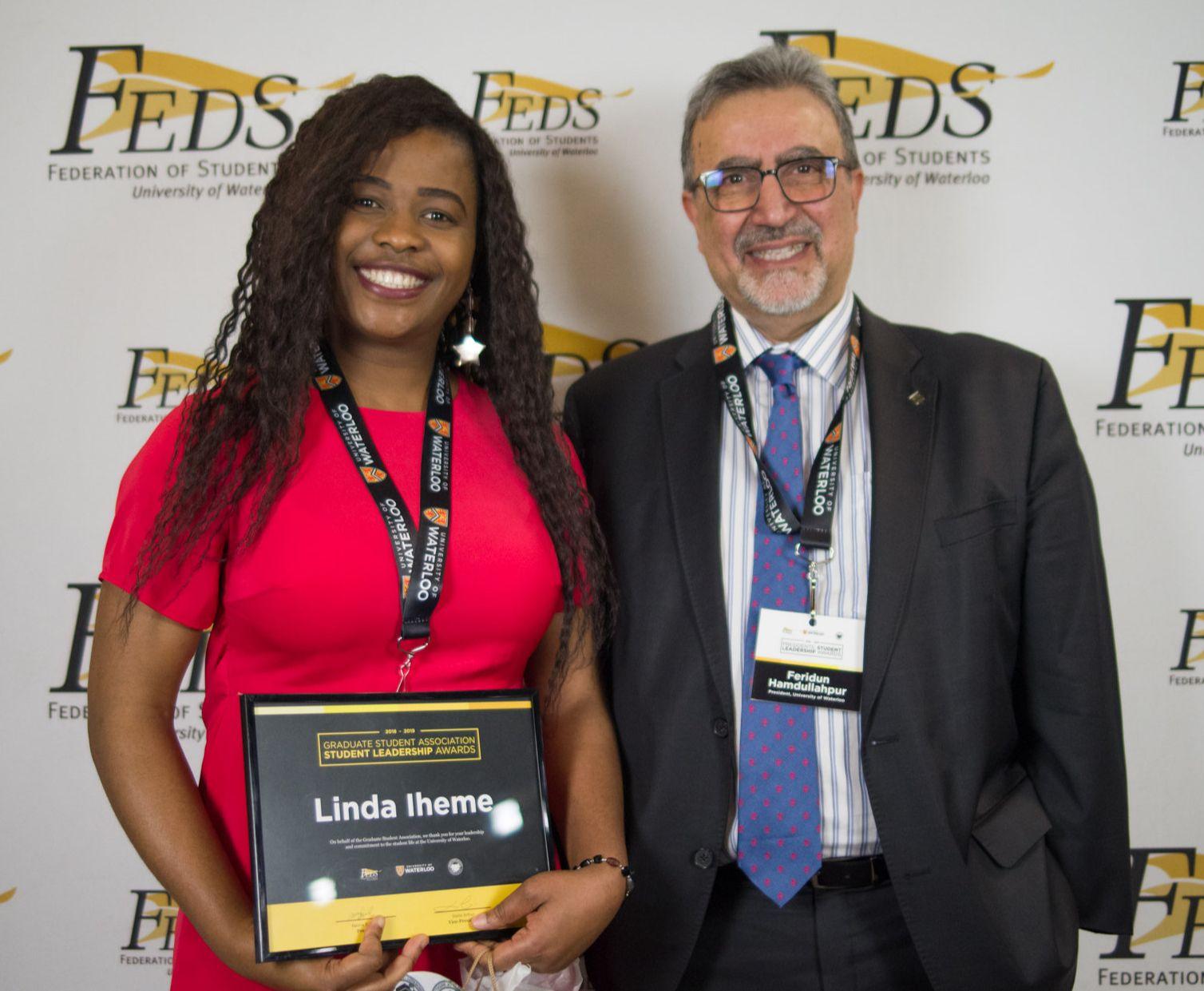 Linda Iheme with Waterloo president