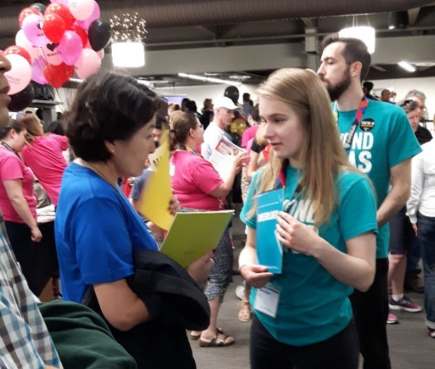 AHS volunteers chat with visitors