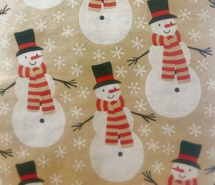 Snowmen wearing red scarves