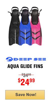 Deep See Aqua Glide Split Blade Open Heel Dive Fins