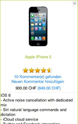 Screenshot aus der neuen Handy-Vergleichsplattform