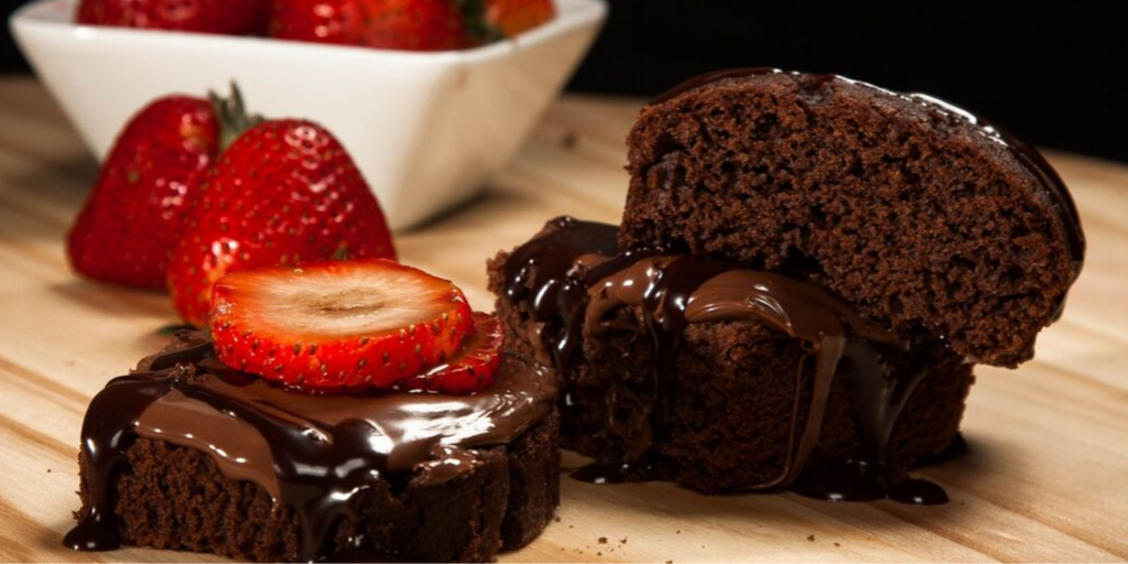 chocolate cake with strawberry oil