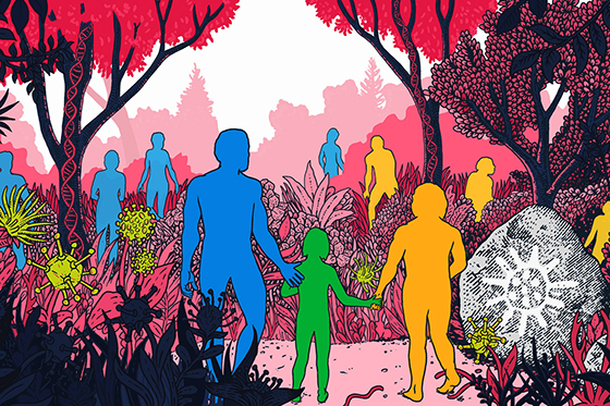 Illustration of humans and neanderthals by Claire Scully