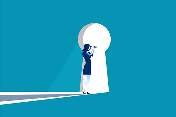 Getty illustration of woman with binoculars looking through a key hole
