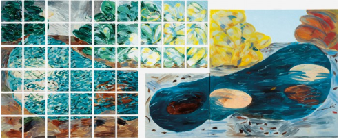 Jennifer Bartlett, At the Lake, Morning, 1979, enamel, serigraph on steel/oil on canvas, 77 x 197 in.